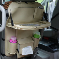 3 Colors Car Back Seat Storage Bag Folding Car Seat Organizer Leather Bottle Holder Tissue Box