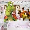 Custom Photo Wallpaper 3D Cartoon Cute Dinosaur Brick Wall Children Room Bedroom Background Wall Decor Mural Wallpaper Kids 1