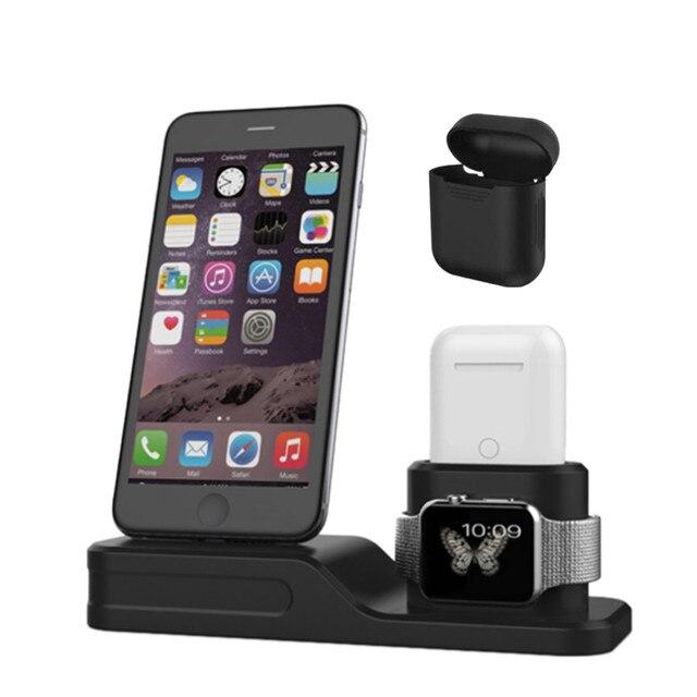 1a05a7c9a0c 3 en 1 soporte de carga estación-Estación Dock soporte inalámbrico cargador  para iPhone para
