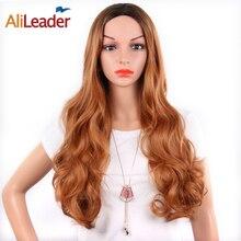 """Leeons длинные Омбре коричневый фиолетовый блонд высокой плотности синтетические вьющиеся парики для женщин бесклеевой волнистый парик для косплея 26"""""""
