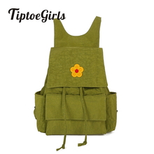 цены Washed Fabric Girls Backpack Bag Applique Leisure Fashion Soft Backpack Quality Students Schoolbag Little Flower Backpack Bag