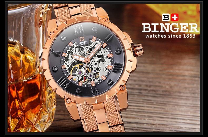 Šveicarija BINGE laikrodžiai vyrams prabangos prekės mechaninis - Vyriški laikrodžiai - Nuotrauka 4