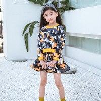 New Autumn Cartoon Camouflage Print Clothes Baby Girls Long Sleeve Dress Kids Girl S Mini Dresses