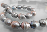 TOP HUGE 14 19MM SOUTH SEA GENUINE PLATINUM SILVER GRAY PEARL NECKLACE 925 silver WG