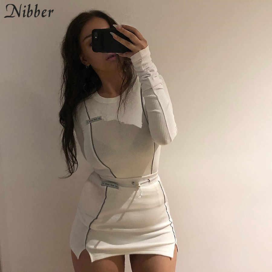 Nibber модная Светоотражающая Лоскутная Спортивная одежда 2 шт. наборы femme 2019new белые вязаные топы женские футболки мини-футболки юбки костюмы