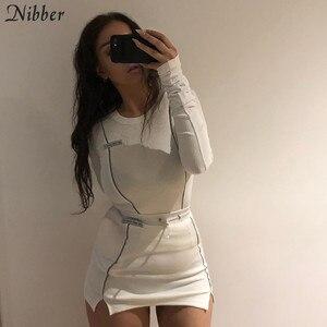 Image 5 - Nibber moda reflexivo retalhos roupas esportivas 2 peças define femme 2019new branco tricô topos feminino t mini camisas saias ternos