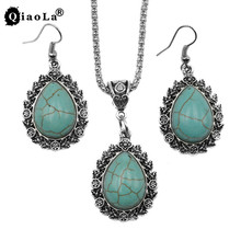 3pcs/sets Vintage Silver Tone Craved Leaves Drop Earrings Water Drop Green Stone Necklaces Femme Jewlery Sets for Women Gifts