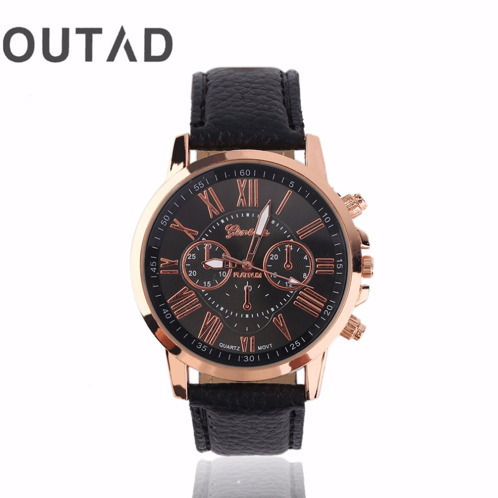 OUTAD Men Male Casual Stylish Numerals Faux Leather Quartz Watch Montre Femme Brand Women Watches Relojes Mujer Relogio Feminino