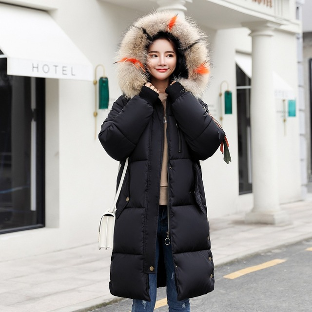 Raccoon fur collar and hat Winter women's down jacket long over the knee thick warm and comfortable down cotton women coat