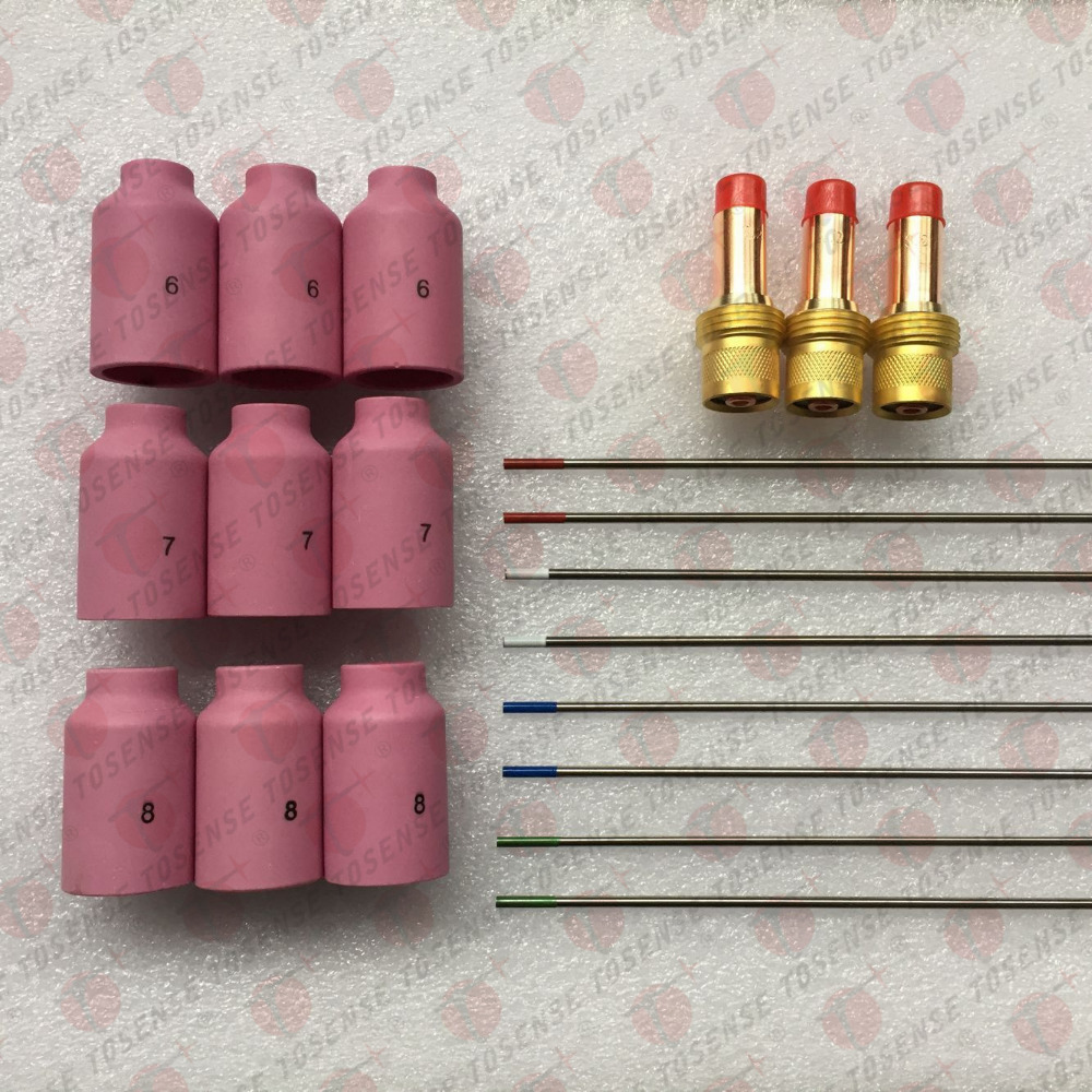ФОТО 20 pcs TIG Welding Torch Gas Lens Kit WP-17 WP-18 WP-26 WT20 1/16
