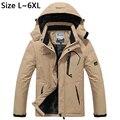5XL 6XL Сгущает Зимняя Куртка Мужчины Ветрозащитный Теплая Куртка Снег Непромокаемую Куртку Марка Руно Бархатная Куртка Ветровка Мужчины CF022