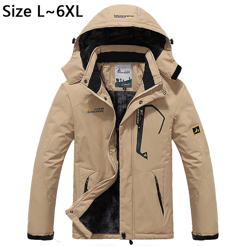 5XL 6XL Thicken Winter Jacket Men Windproof Warm Parka Snow Waterproof Jacket Brand Fleece Velvet Jacket Windbreaker Men CF022