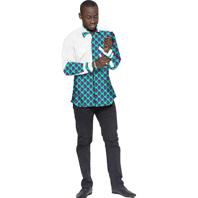 Africano de impresión de manga larga camisa de los hombres remiendo de la manera diseño dashiki camisetas de áfrica clothing