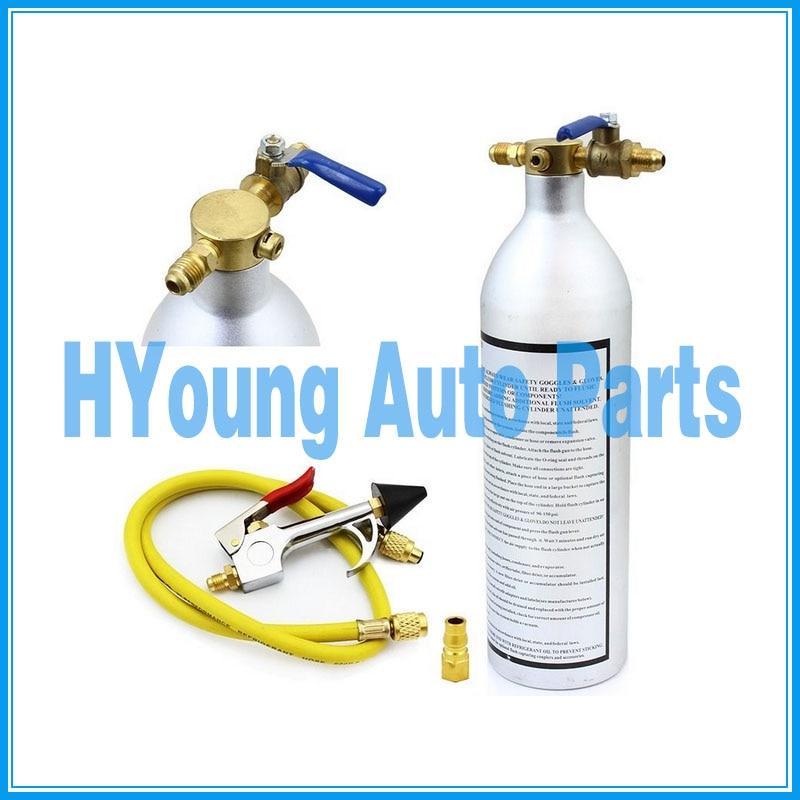 US $38 0  HVAC auto Air Conditioner System Flush Canister Gun Kit R134 R12  R22 R410 R404, air conditioning system clean tools-in A/C Compressor &