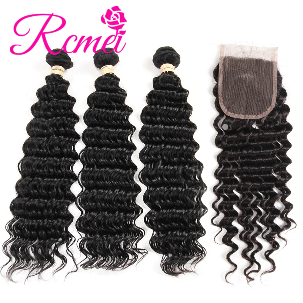 Rcmei Remy Product Brazilian Huamn Hair Bundles With closure Deep Wave Bundles With Closure 3 Bundles With Lace Closure