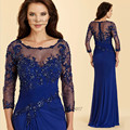 2016 Women Formal Lace Mother of the Bride Dresses Long Sleeve Blue Godmother Dress Evening Gowns Beads Vestido Mae Da Noiva