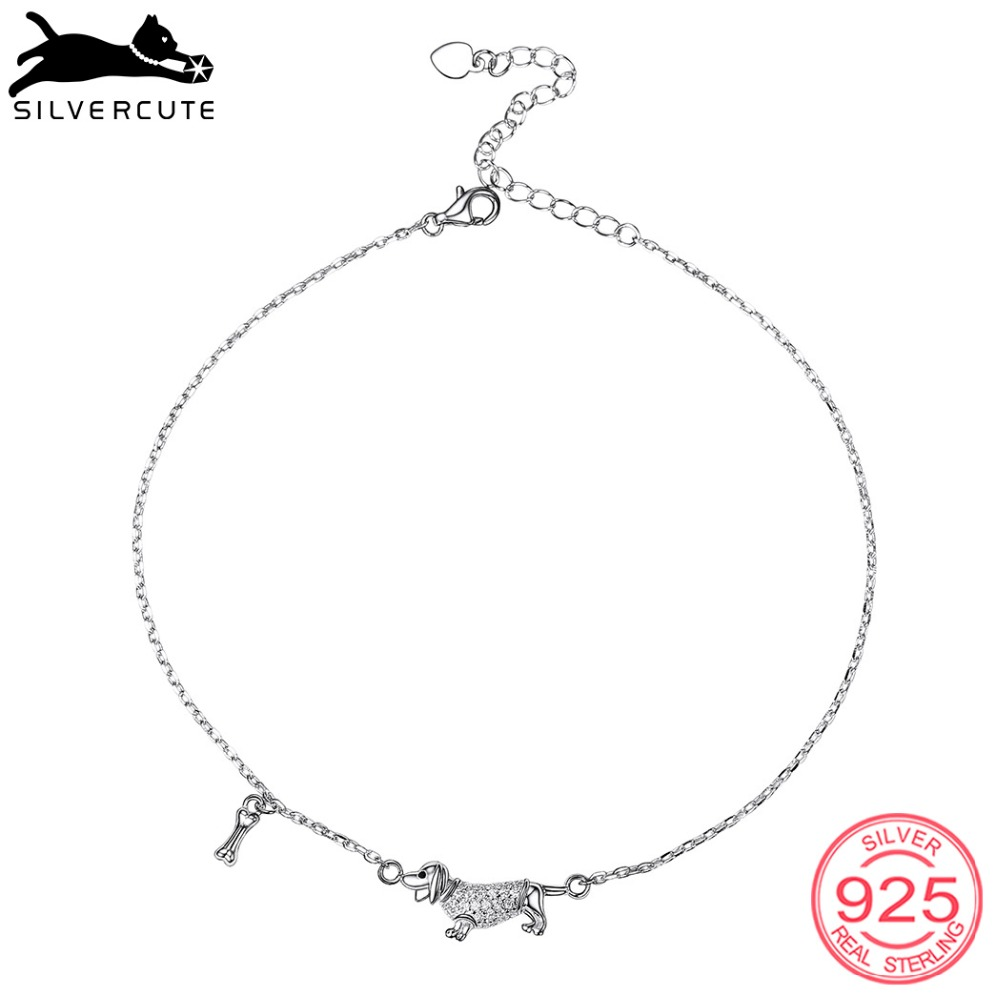 SILVERCUTE Charm Dog and Bone Anklets For Women 925 Sterling Silver Summer Fine Jewelry Ankle Bracelet With Stones SCA6425B
