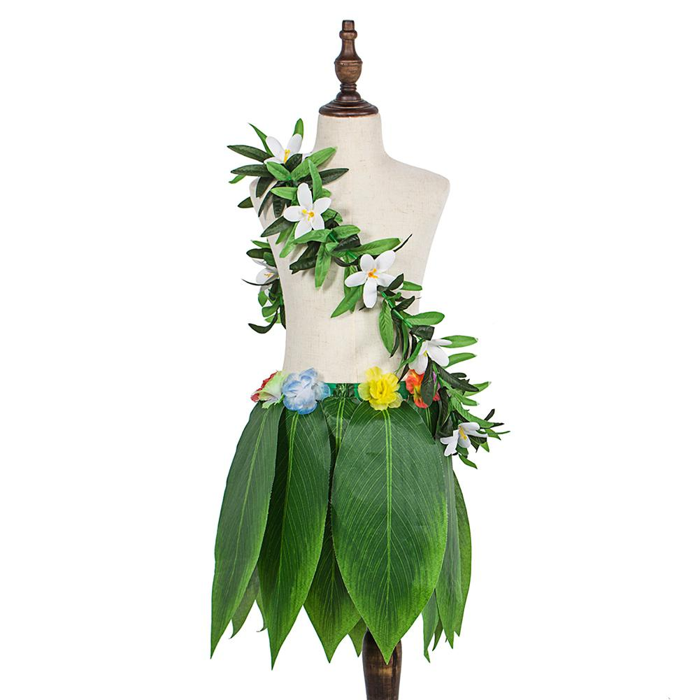 Adeeing Hawaiian Simulate Tropical Leaves Skirt & Wreath Green Garland Dancing Props Decoration Beach Party SuppliesAdeeing Hawaiian Simulate Tropical Leaves Skirt & Wreath Green Garland Dancing Props Decoration Beach Party Supplies