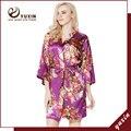 FR0007 Floral Robes De Seda De Cetim Mulheres Kimono Robe de Casamento Nupcial Da Dama de Honra Lady Spa Robe Noite Vestido Frete Grátis