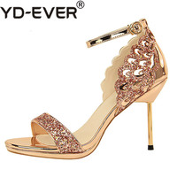 2019 Women Luxury High Heels Plus Size 40 Women Stiletto Glitter Sandals Designer Gold Silver Heels Satin Sexy Wedding Pumps