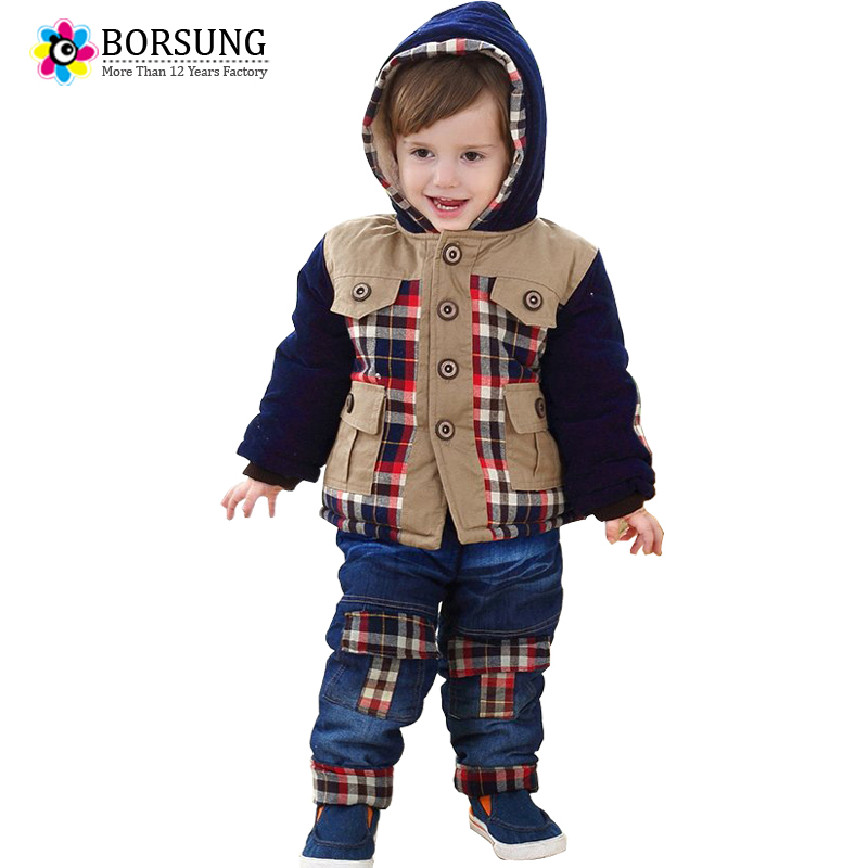 2017 New Baby Boys Winter Clothing Set Cotton Plaid Hooded Warm Down Parkas+Jeans 2pc Suits Toddler Boys Winter Clothes Kids Set 2017 new boys clothing set camouflage 3 9t boy sports suits kids clothes suit cotton boys tracksuit teenage costume long sleeve