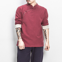 Men's Fashion Chinese Style Boutique Pure Cotton Linen Casual Long Sleeve Shirts / Men's Button Down Shirt Chinese Style Male