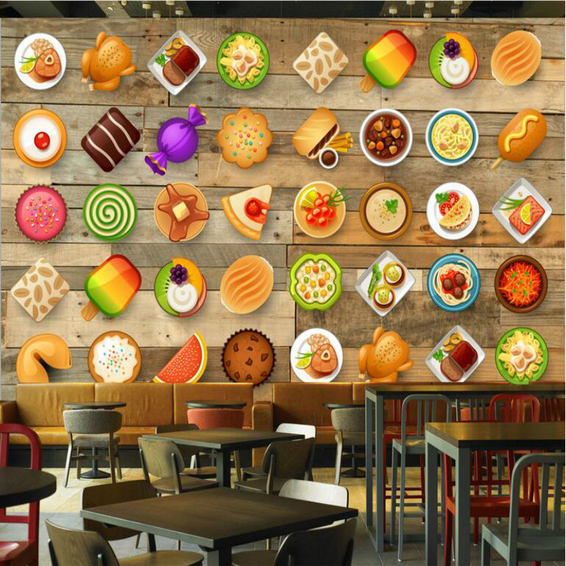 Home Improvement Decorative Painting Wallpaper for Wall Living Room 3d Dessert Shop Coffee House Wood Board Restaurant Wallpaper free shipping 3d dessert cake gourmet theme restaurant wallpaper cake shop dessert coffee dessert snack bar mural
