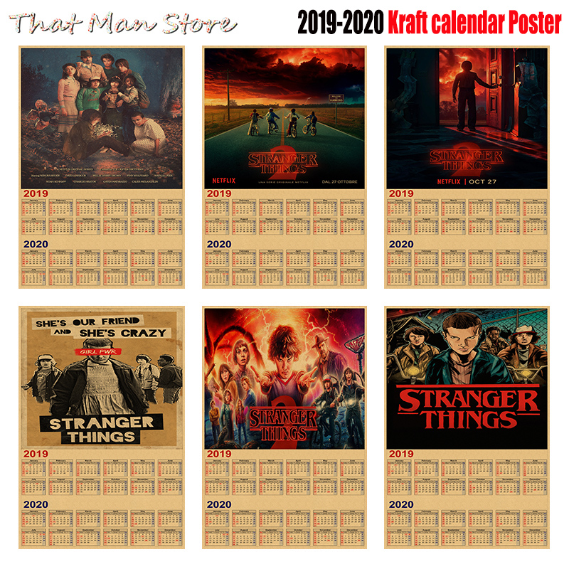 Calendario 2020 2020.Us 1 75 10 Off Hot Sale Stranger Things 2019 2020 Calendar Poster Vintage Antique Posters Wall Sticker Home Decora 30 21cm In Wall Stickers From
