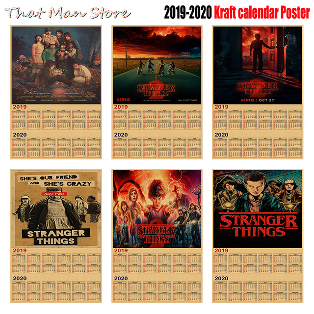 2020 Calendars For Sale Hot Sale Stranger Things 2019 2020 calendar poster Vintage Antique