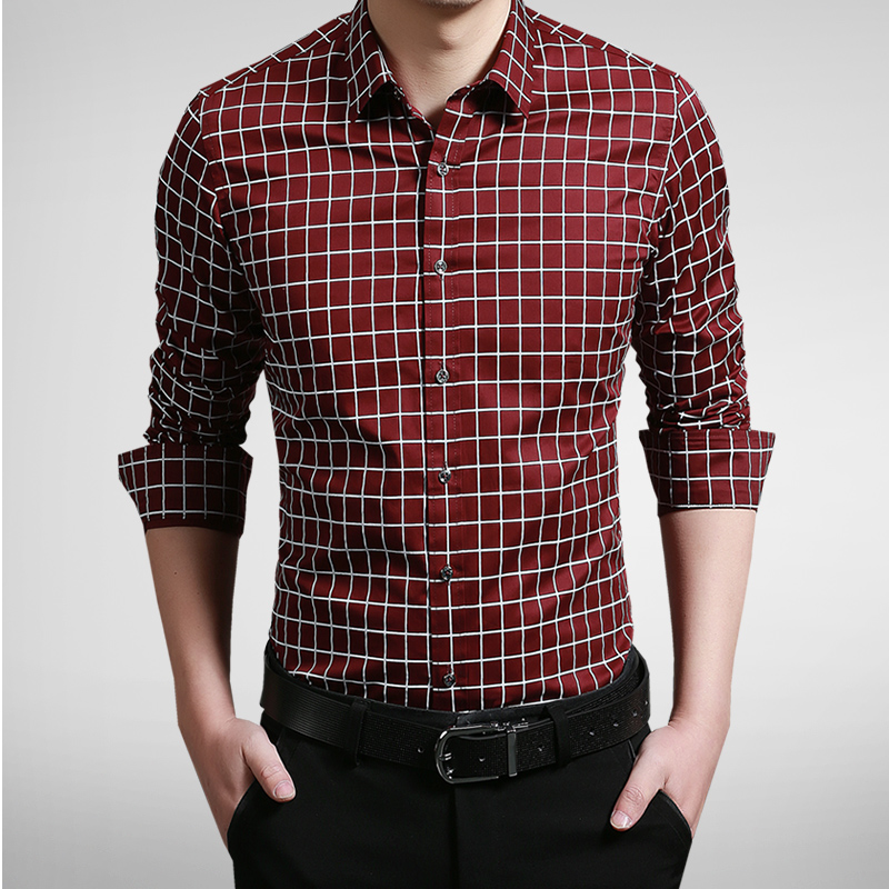New 2016 brand clothing men dress slim fit shirts plaid for Mens fitted long sleeve dress shirts
