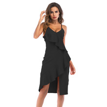 MUXU summer women sexy Deep V Lead Irregular Camisole Sexy Dress clothes jurken black elegant streetwear Ruffles womens clothing