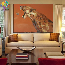 hand painted huge large brown animal wall picture wild beast canvas art panther leopard oil paiting for living room decoration