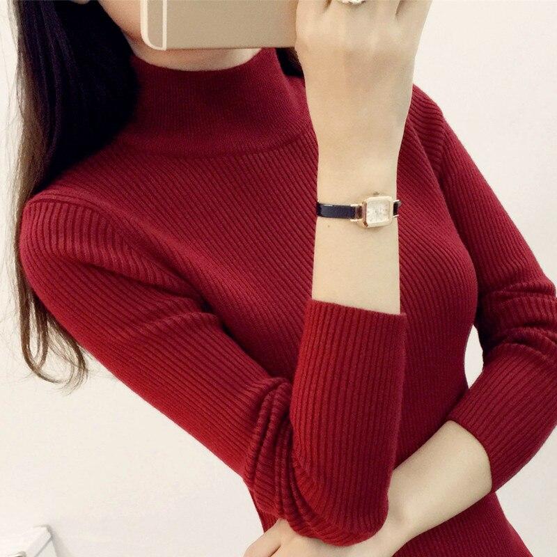 Nueva Corea Corto semi Camisa femenina de manga larga Jersey de Cuello Alto Sué