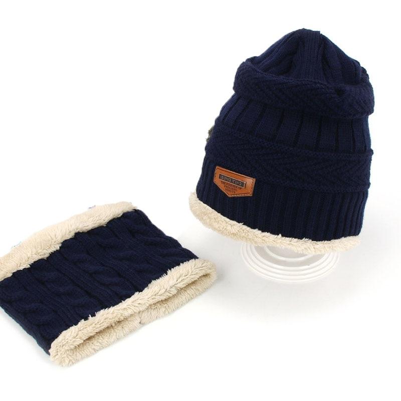 Комплект шапочки унисекс для детей и взрослых, детский толстый вязаный вельветовый головной убор и шарф, зимний теплый костюм, шапка и шарф, MZ5356 - Цвет: navy