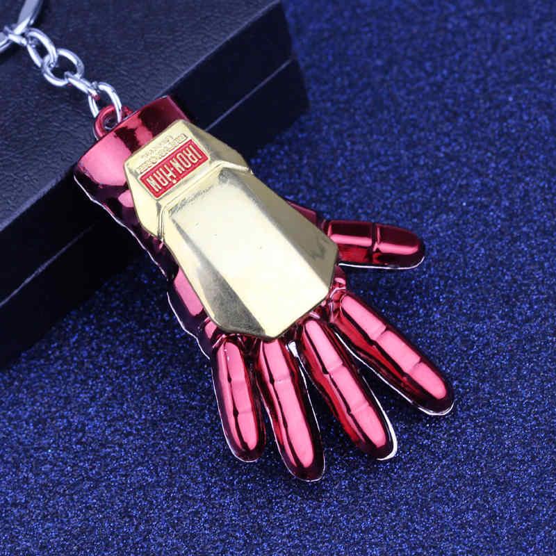 Nova Chegada de Super Herói The Avengers Iron Man Mão 6 Keychain do Metal Chaveiro Liga Chaveiro Anel de Luz de Cor declaração de Jóias