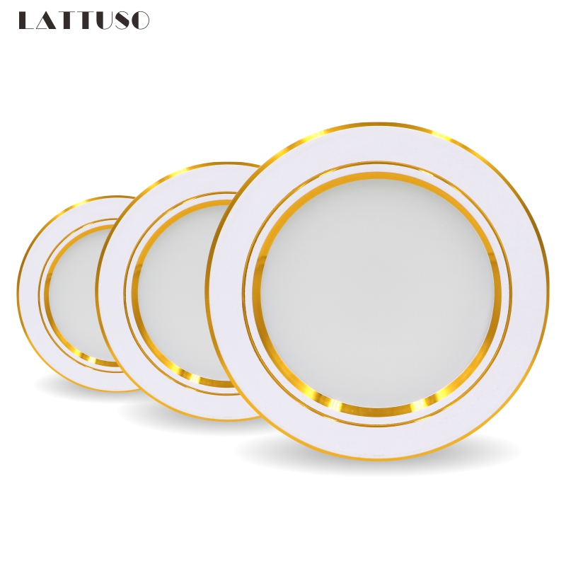 Ultra Bright Round LED Downlight 5W 7W 9W 12W 15W 18W Gold Ultra Thin Aluminum AC220V LED Down Light Ceiling Recessed Spot Light