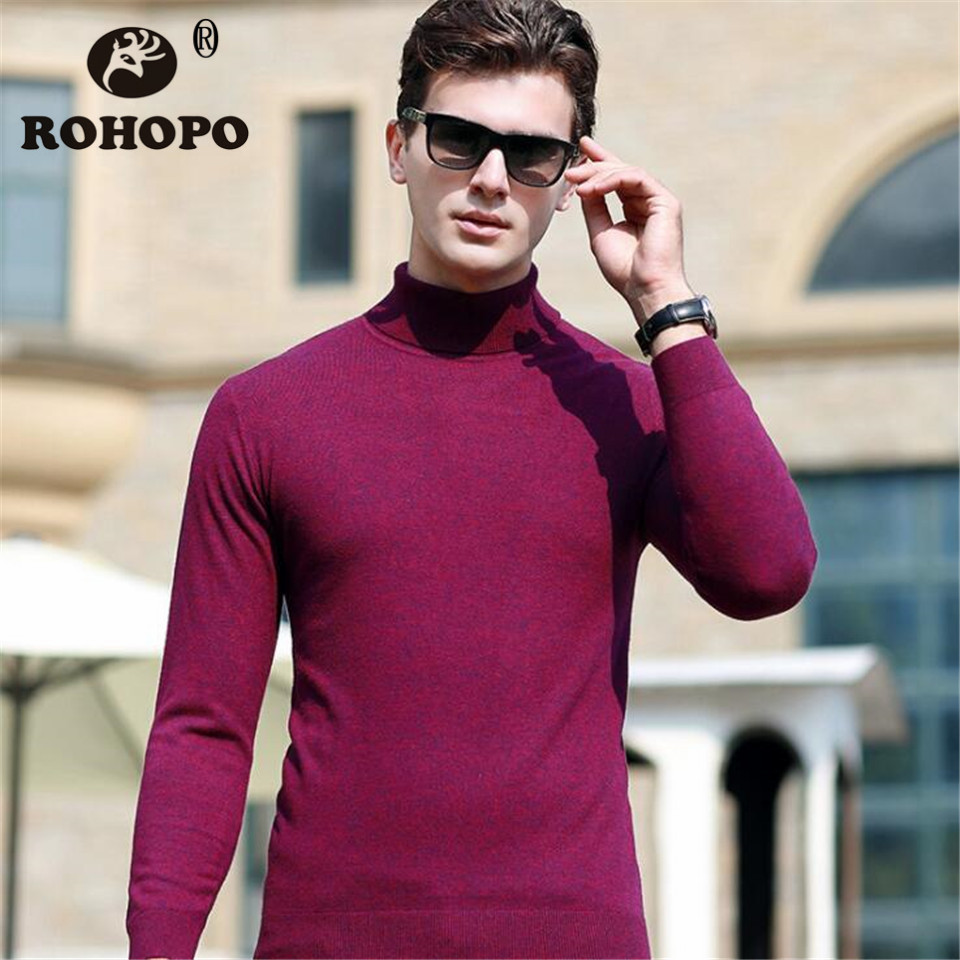 ROHOPO Knitting Sweater Man Spring 2019 100% Cashmere Wool Sweatershirt Autumn Keep Warm Knitted Under Pullovershirt Man Sweater