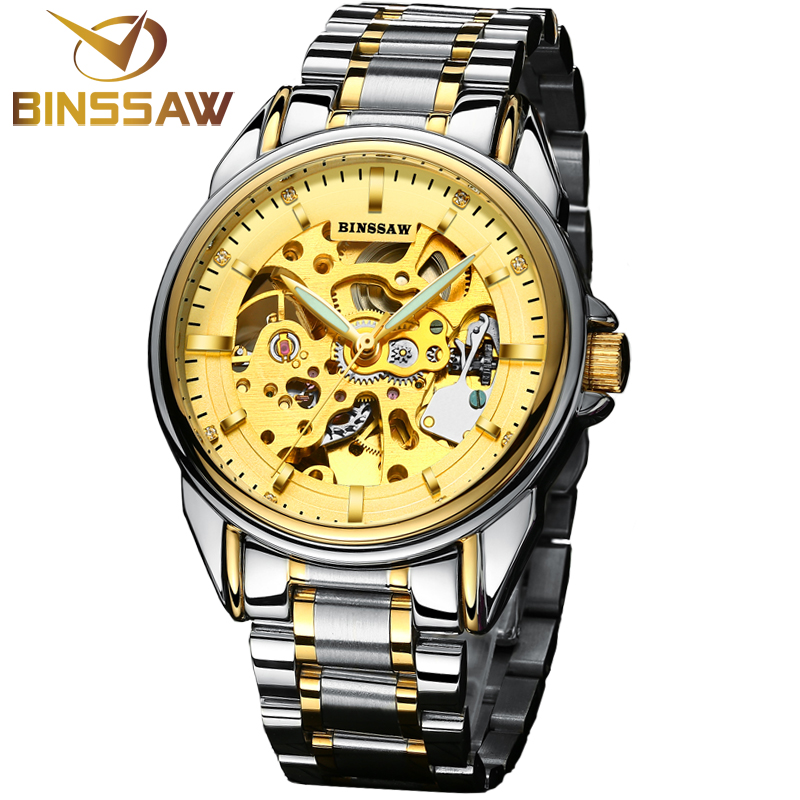 Men BINSSAW  luxury brand new black watch stainless steel watch fashion automatic mechanical hollow out business mens watches