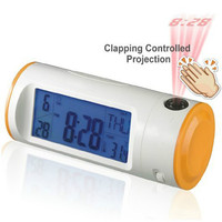 Geluid Controle Batterij Aangedreven Roterende Lens Projectie Digitale Kalender Temperatuur Datum