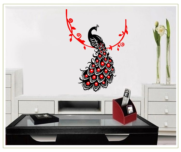 3D Wall Sticker Beautiful Phoenix Peacock Adesivos De Parede Living Room  Decoration Chambre Deco Maison Autocollant Mural In Wall Stickers From Home  ...