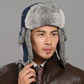 Russian Hat For Men/Women/Unisex 2016 Winter Real Rabbit Fur Trapper Hat Real Leather Top Cotton Lining Warm New Bomber Hats