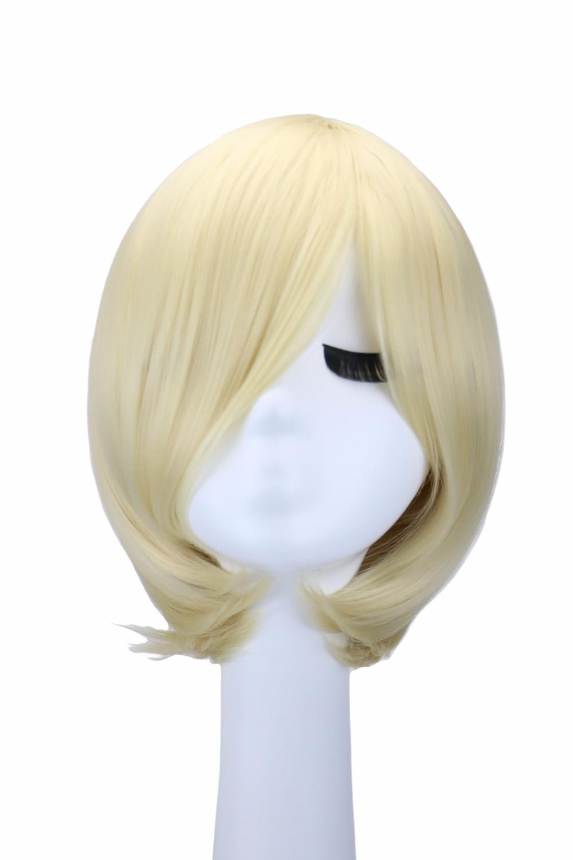 QQXCAIW Korta Straight Men Boy Anime Cosplay Blonda 32 Cm Syntetiska - Syntetiskt hår