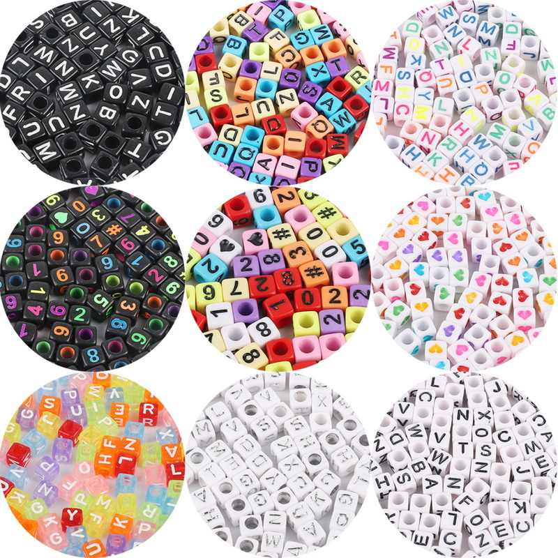 Hot! 100Pcs/Lot 6mm Mixed Many Kinds Acrylic Cube Square Number&Alphabet Letter Beads For Bracelet Necklace Jewelry Making DIY