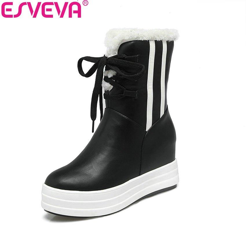 ESVEVA 2018 Women Boots Height Increasing Round Toe High Heels Ankle Boots Chunky Short Plush Out Door Ladies Boots Size 34-40 esveva 2018 women boots square heels pu leather short plush out door high heels ankle boots round toe ladies boots size 34 43