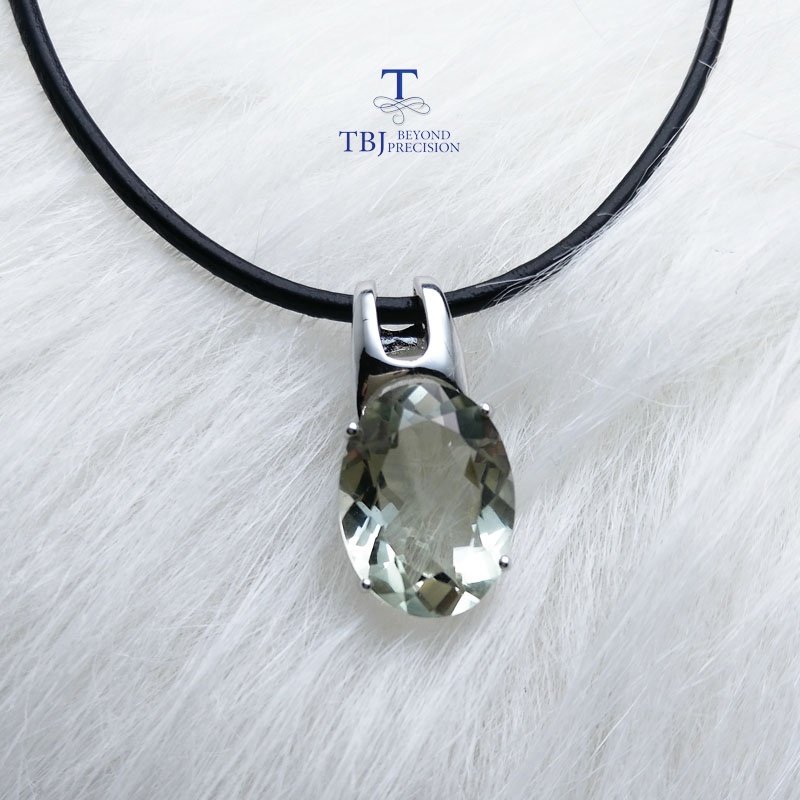 TBJ simple and elegant pendant with natural green amethyst gemstone in 925 sterling silver fine jewelry