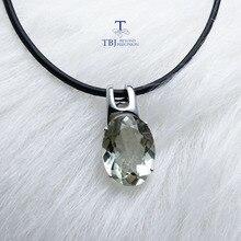 TBJ, prosty i elegancki wisiorek z naturalna zieleń ametyst kamień w 925 sterling silver fine jewelry dla kobiet i pani jako prezent