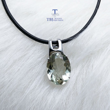 TBJ,simple and elegant pendant with natural green amethyst gemstone in 925 sterling silver fine jewelry for women & lady as gift
