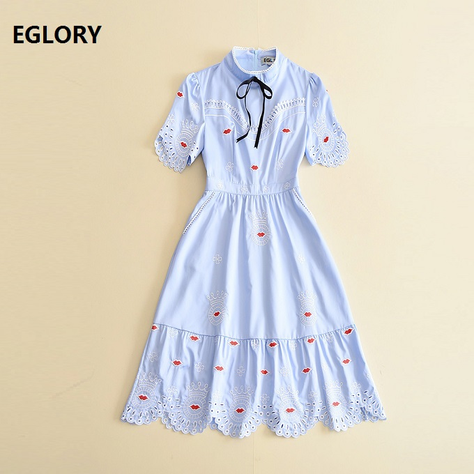 High Quality New Celebrity Inspired Women's Dress 2017 Summer Stand Collar Hollow Out Embroidery Red Lips Vintage Cotton Dress
