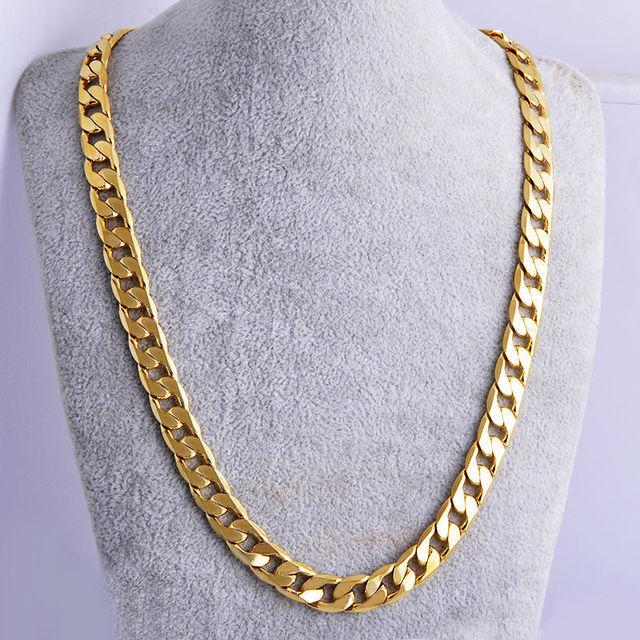 de4bf42f4b6 Beaux Hommes Cadeau Or Jaune Plaqué Bijoux Chaîne Cubaine Collier 10mm 23.6