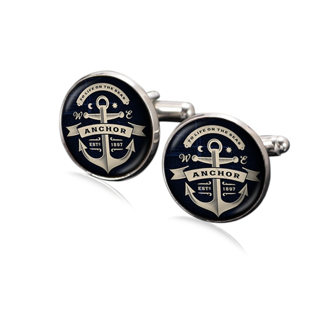 1 Pair Anchor Cufflink 18mm Glass Charms Silver Plated Copper Multi Pattern